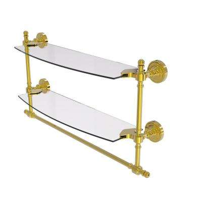 Retro Dot Collection 18 in. Two Tiered Glass Shelf with Integrated Towel Bar in Polished Brass