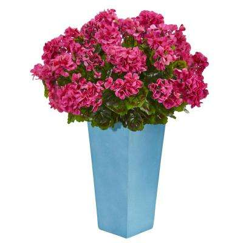 Indoor/Outdoor UV Resistant Pink Geranium Artificial Plant in Turquoise Planter