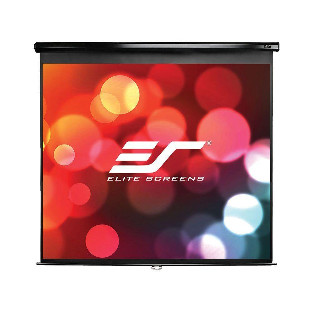 Elite Screens 99 in. Manual Pull-Down Wall and Ceiling Projection Screen - Matte White with Black Case