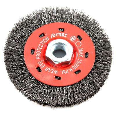4 in. x 5/8 in.-11 Threaded Arbor Coarse Crimped Wire Wheel Brush