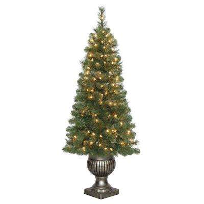 4.5 ft Wesley Long Needle Pine Potted LED Pre-Lit Artificial Christmas Tree with 150 Warm White Lights
