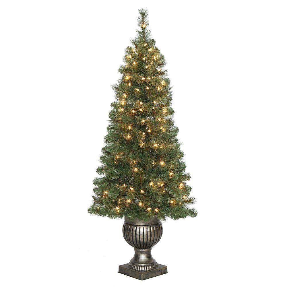 Home Accents Holiday 4.5 ft. Pre-Lit LED Wesley Spruce Potted ...