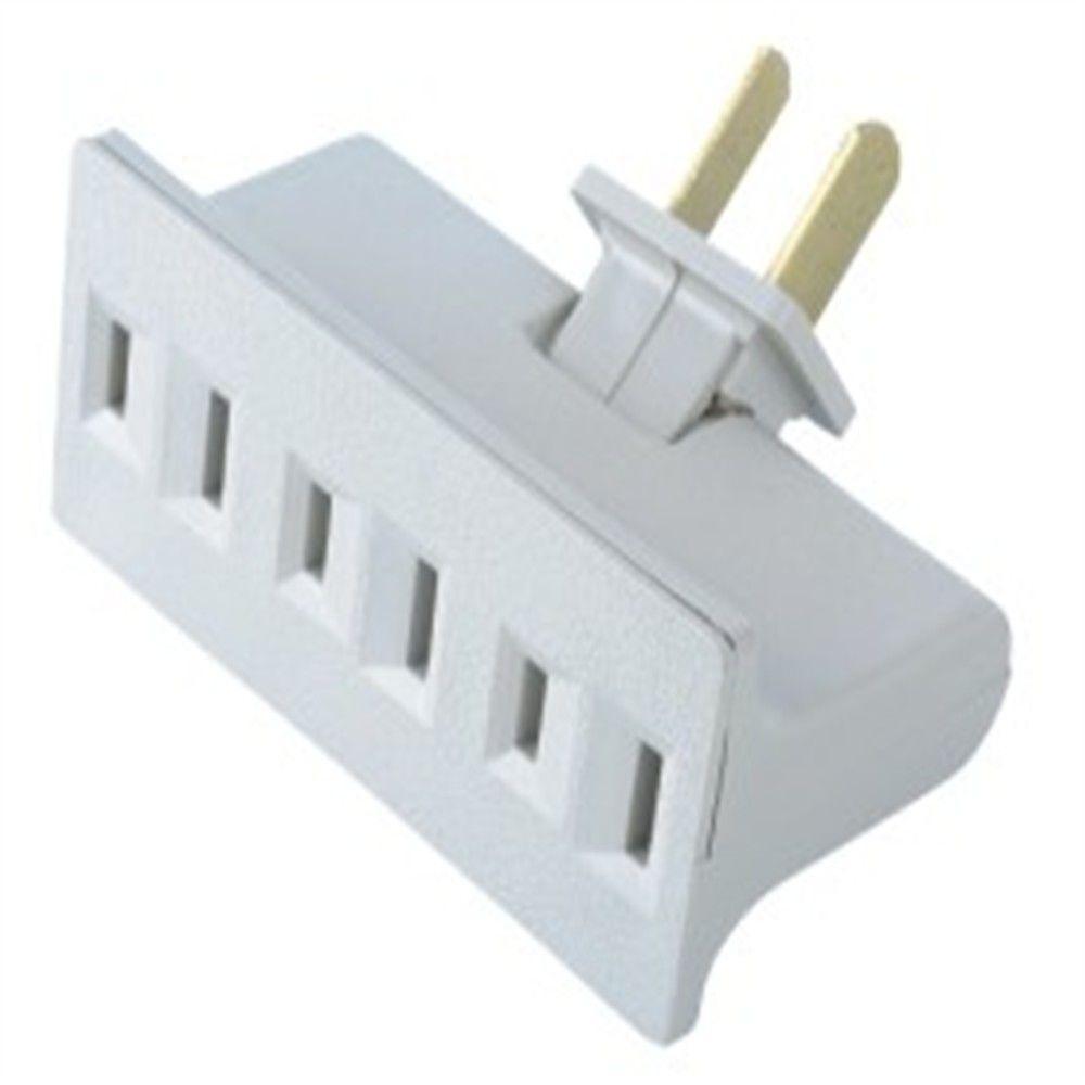 Commercial Electric 15 Amp Swivel Triplex Outlet, White-LA-7 - The ...