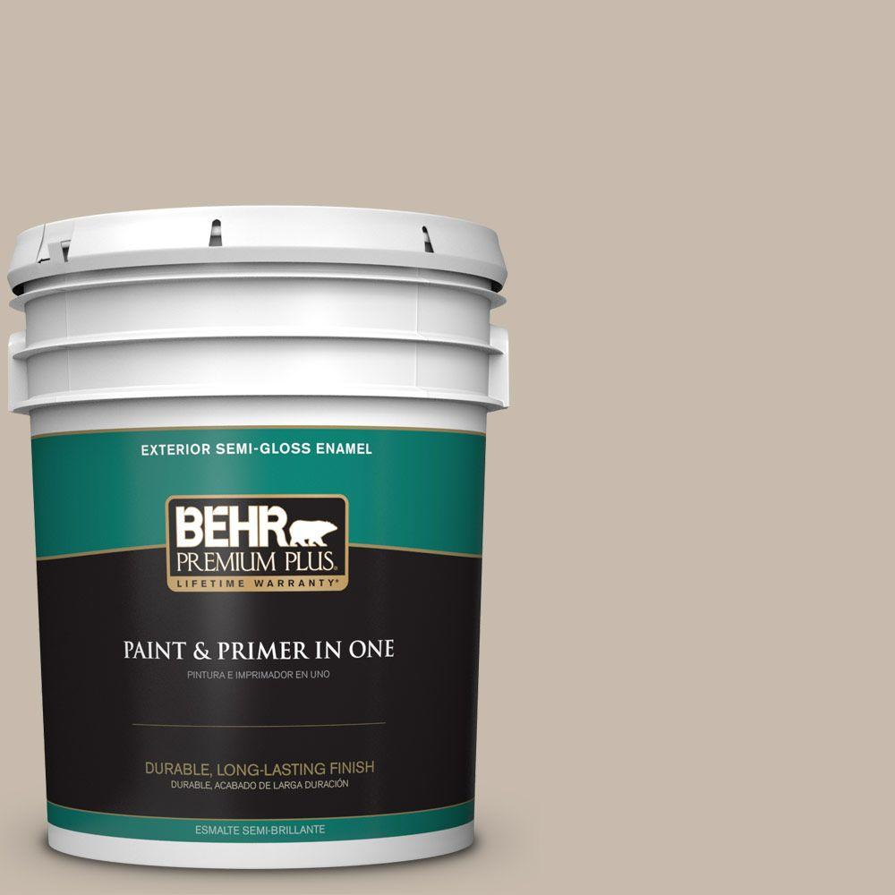 BEHR Premium Plus 5-gal. #ECC-44-1 Barley Field Semi-Gloss Enamel Exterior Paint
