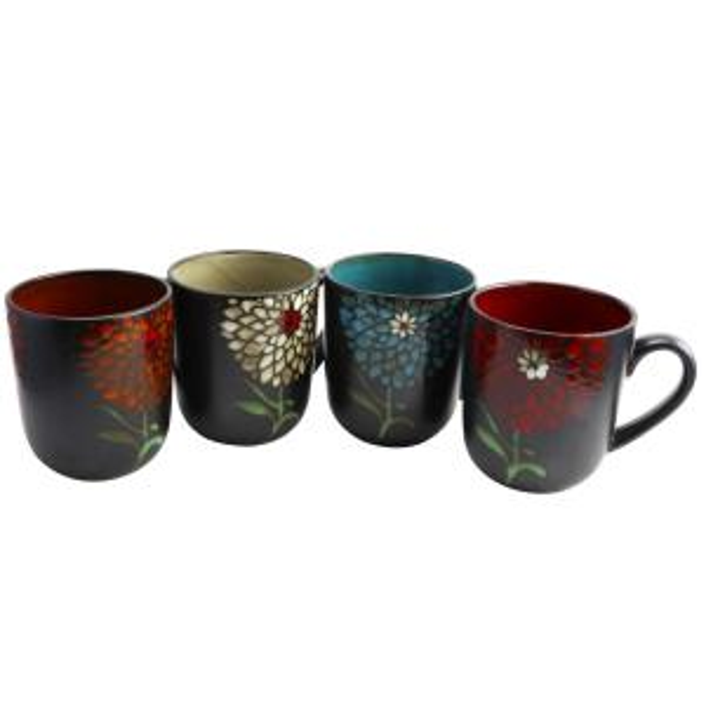 Gardenia Cafe 4-Piece 16 oz. Assorted Color Mug Set