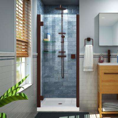 Lumen 42 in. x 72 in. Semi-Frameless Hinged Shower Door in Oil Rubbed Bronze with 42 in. x 34 in. Base in White