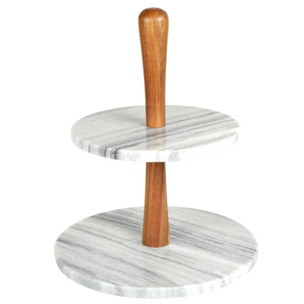 2-Tier Natural Marble and Acacia Wood Cake Dessert Stand, Fruit Plate, Pastry Server, Off-White