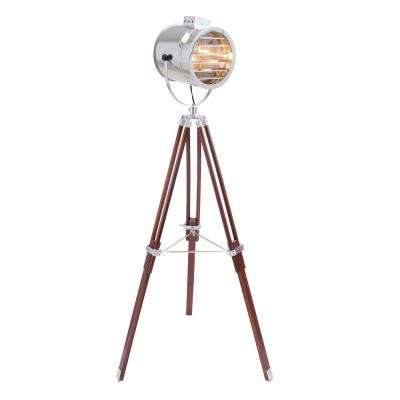 Ahoy 62 in. Cherry Wood and Chrome Tripod Floor Lamp