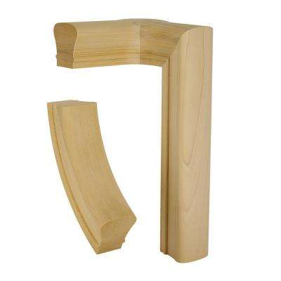 7081 Unfinished Poplar 2-Rise Left-Hand Quarter Turn with Cap
