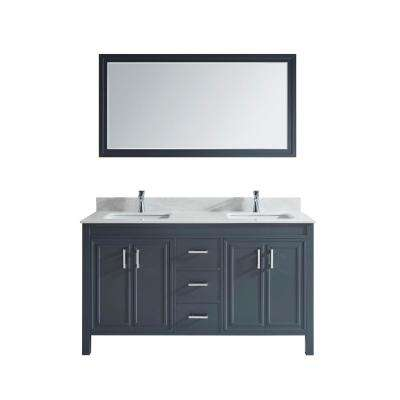 Dawlish 60 in. W x 22 in. D Vanity in Pepper Gray with Solid Surface Vanity Top in White with White Basin and Mirror
