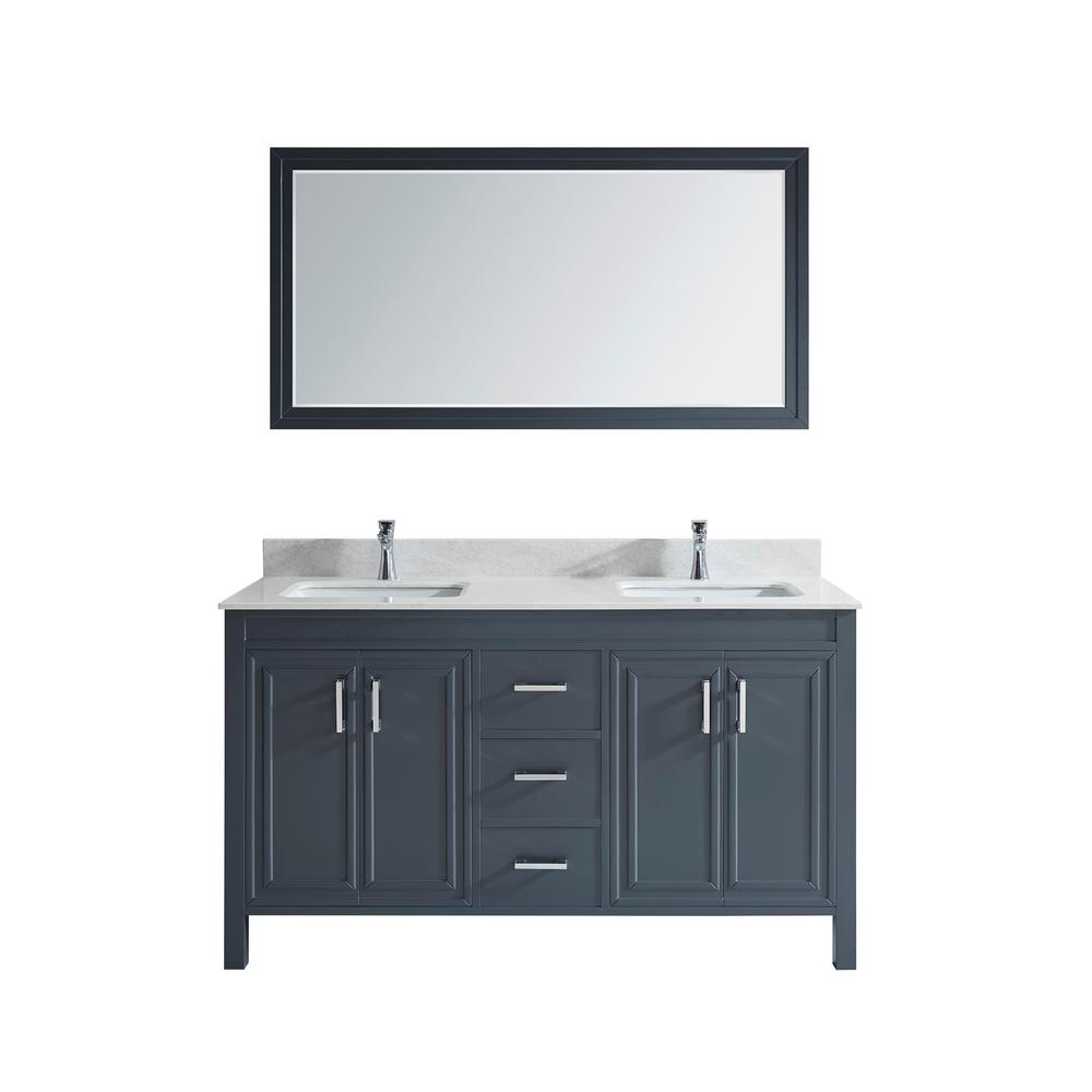 Vanity Pepper Gray Solid Surface Vanity Top White Basin Mirror