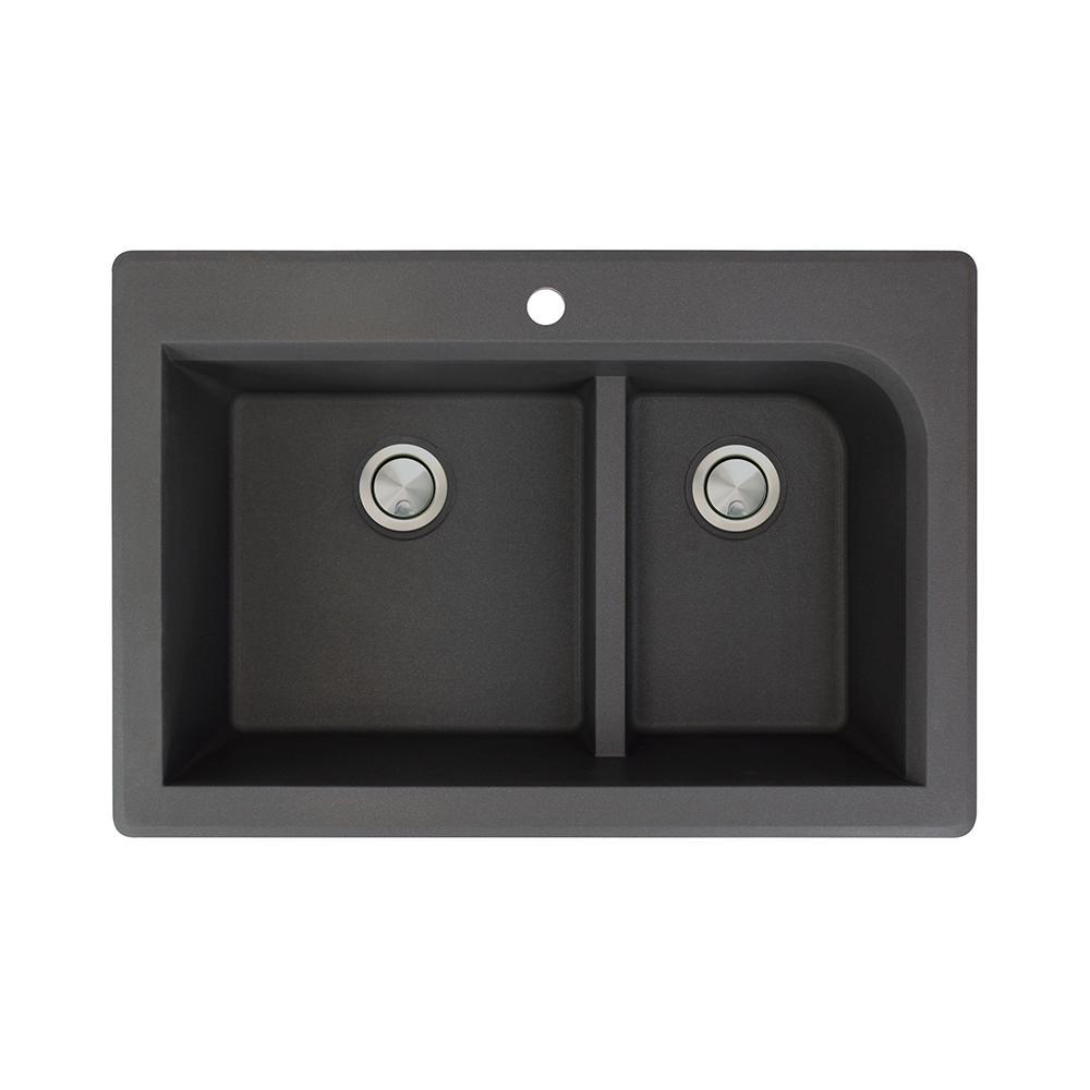 Radius Drop-in Granite 33 in. 1-Hole 1-3/4 J-Shape Double Bowl Kitchen Sink in Black