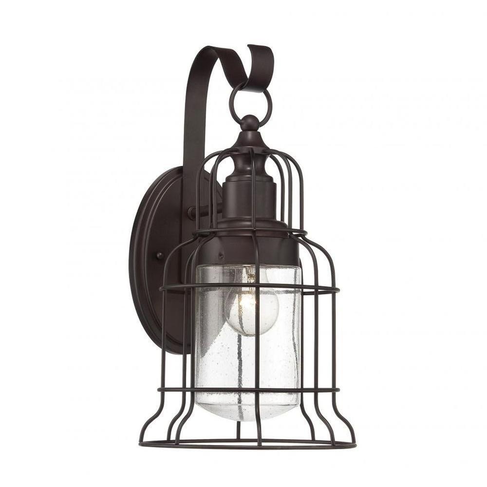 Mendoza 1-Light English Bronze Outdoor Wall Mount Lantern