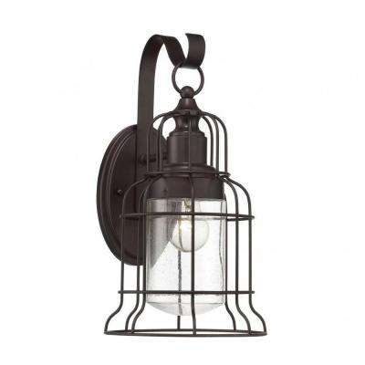 Mendoza 1-Light English Bronze Outdoor Wall Mount Lantern