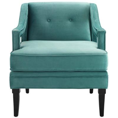 Concur Button Tufted Upholstered Velvet Armchair in Teal