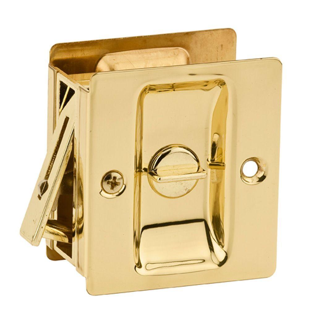 Kwikset Notch Polished Brass Privacy Pocket Door Lock by Kwikset