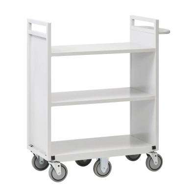 36 in. W Flat 3-Shelf Cart with 6-Wheels