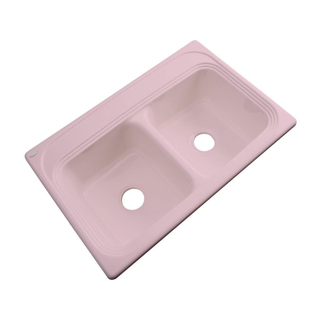Thermocast Chesapeake Drop-In Acrylic 33 in. Double Bowl Kitchen Sink in Dusty Rose