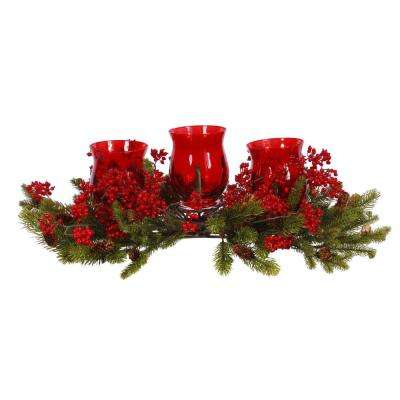 Berry Centerpiece 28 in. Wide with 3-Votive Candle Holder