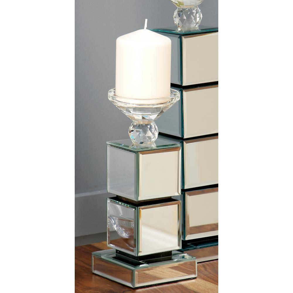 10 in. 2-Stack Mirrored Cube Candle Holder