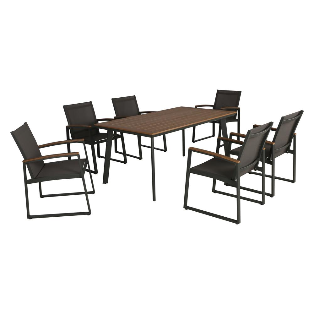 Noble House Leeds Gray 7 Piece Aluminum Outdoor Dining Set With Faux Wood Table Top