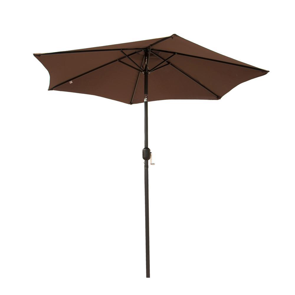 10 ft. Crank-Tilt Market Outdoor Garden Patio Beach Umbrella in Tan