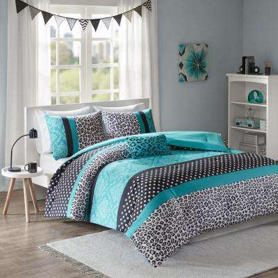 Camille 4-Piece Teal King Comforter Set
