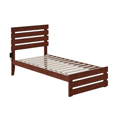 Oxford Walnut Twin Bed with Footboard and USB Turbo Charger