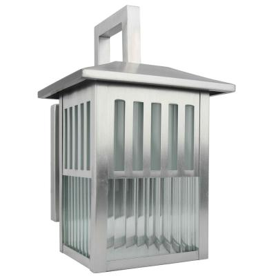 1-Light Outdoor Wall Lamp with Clear Ribbed Glass in Satin Nickel Finish Wall Lantern Sconce