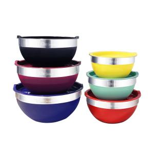 Click here to buy Elite 12-Piece Stainless Steel Colored Mixing Bowl with Tops by Elite.