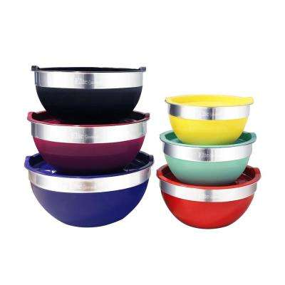 12-Piece Stainless Steel Colored Mixing Bowl with Tops