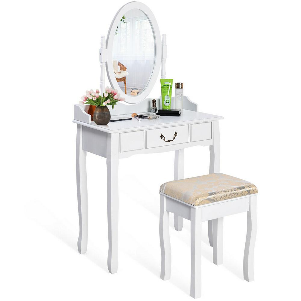 Costway White Vanity Table Jewelry Makeup Desk Bench Dresser with Cushioned  Stool Drawer-HW17 - The Home Depot