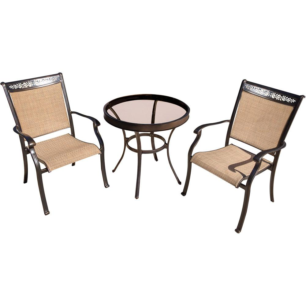 Hanover Fontana 3 Piece Aluminum Outdoor Bistro Set With Round Glass