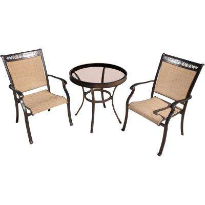 Fontana 3-Piece Aluminum Outdoor Bistro Set with Round Glass-Top Table