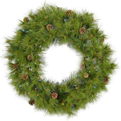 36 in. Eastern Pine Artificial Holiday Wreath with Multi-Colored Battery-Operated LED String Lights