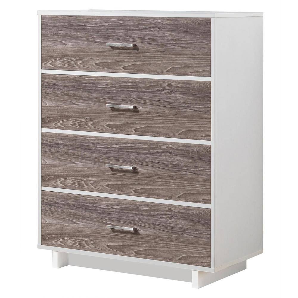 Ameriwood Home Smithfield 4 Drawer Vintage White Rustic Medium Brown Dresser