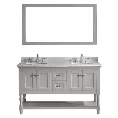 Julianna 60 in. W Bath Vanity in Gray with Marble Vanity Top in White with Round Basin and Mirror