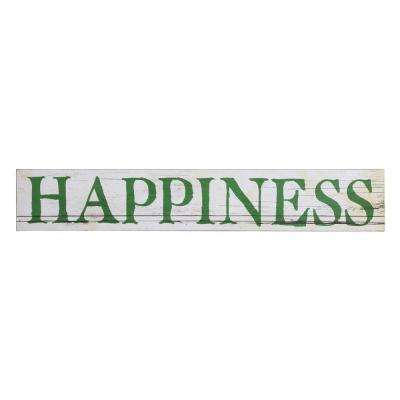 "8 in. H x 47.38 in. W ""Happiness"" Unframed Wood Wall Art"