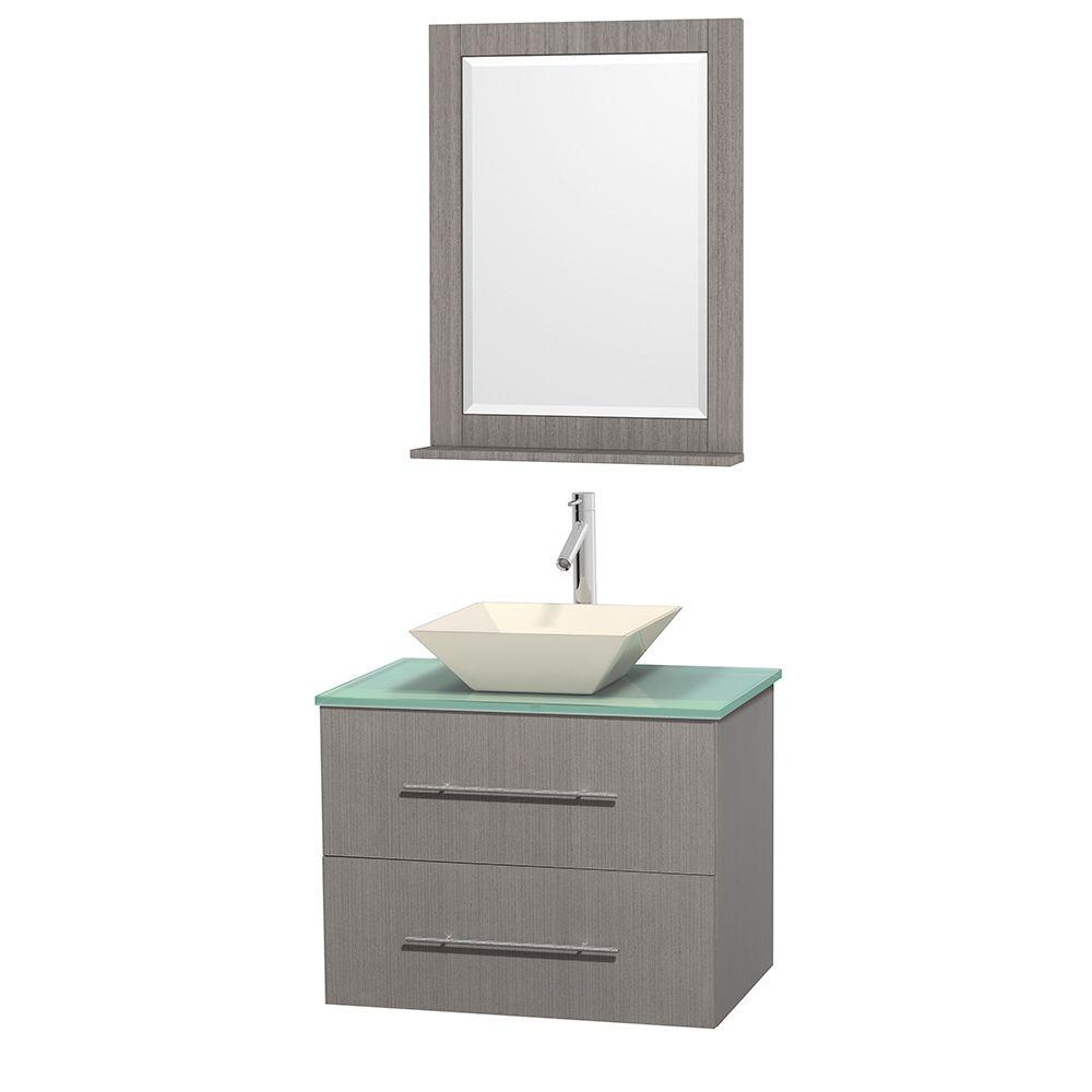 Vanity Gray Oak Glass Vanity Top Green Bone Porcelain Sink Mirror