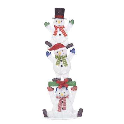 Icicle Shimmer Y2 84 in. 240L LED CW Stacked Snowman