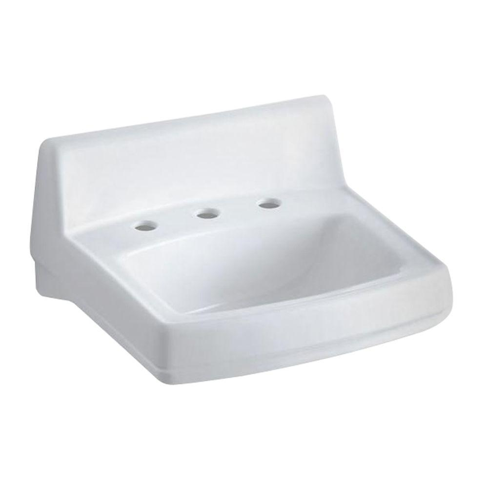 Greenwich Wall Mount Vitreous China Bathroom Sink In White With Overflow  Drain