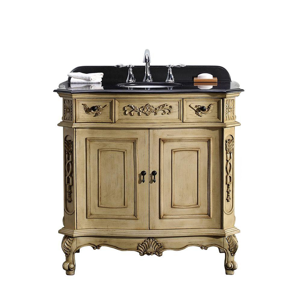36 in. W x 21 in. D Vanity in Antique Parchment with Granite Vanity Top in Black with White Basin