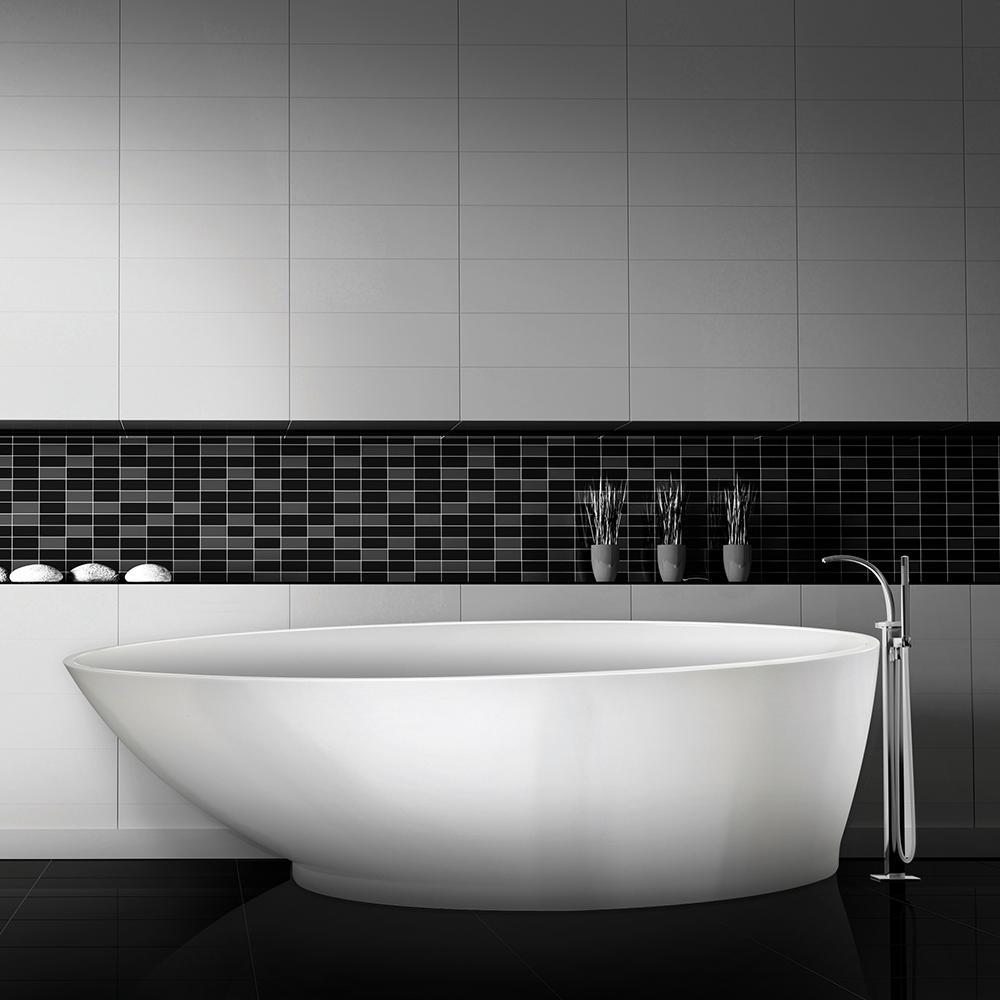 Gateway 5.8 ft. Solid Surface Flat Bottom Freestanding Air Bath Bathtub in Almond