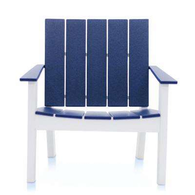 Cabana White and Navy Recycled Plastic Big Daddy Outdoor Lounge Chair