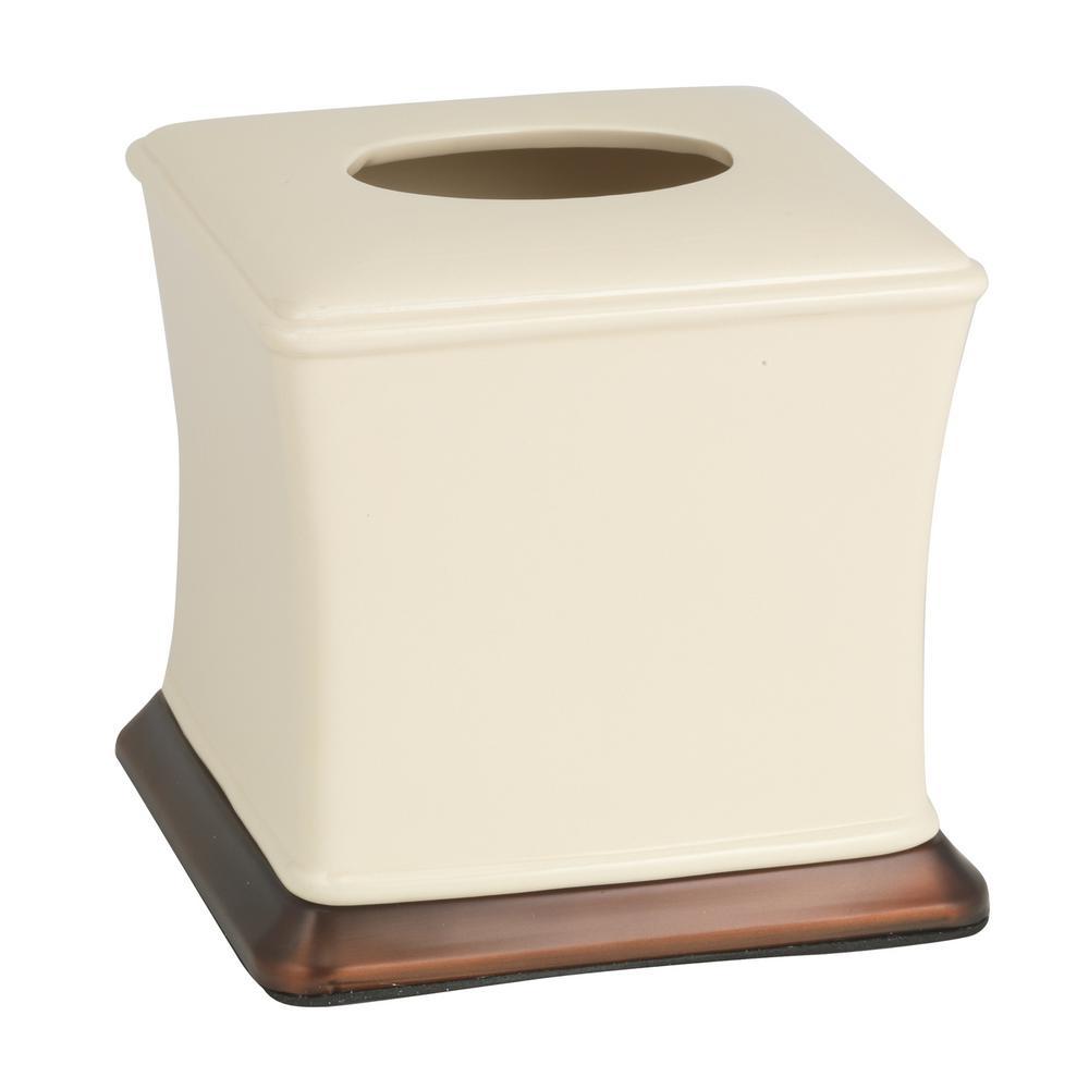 Phoenix Tissue Box in Beige and Copper Ceramic