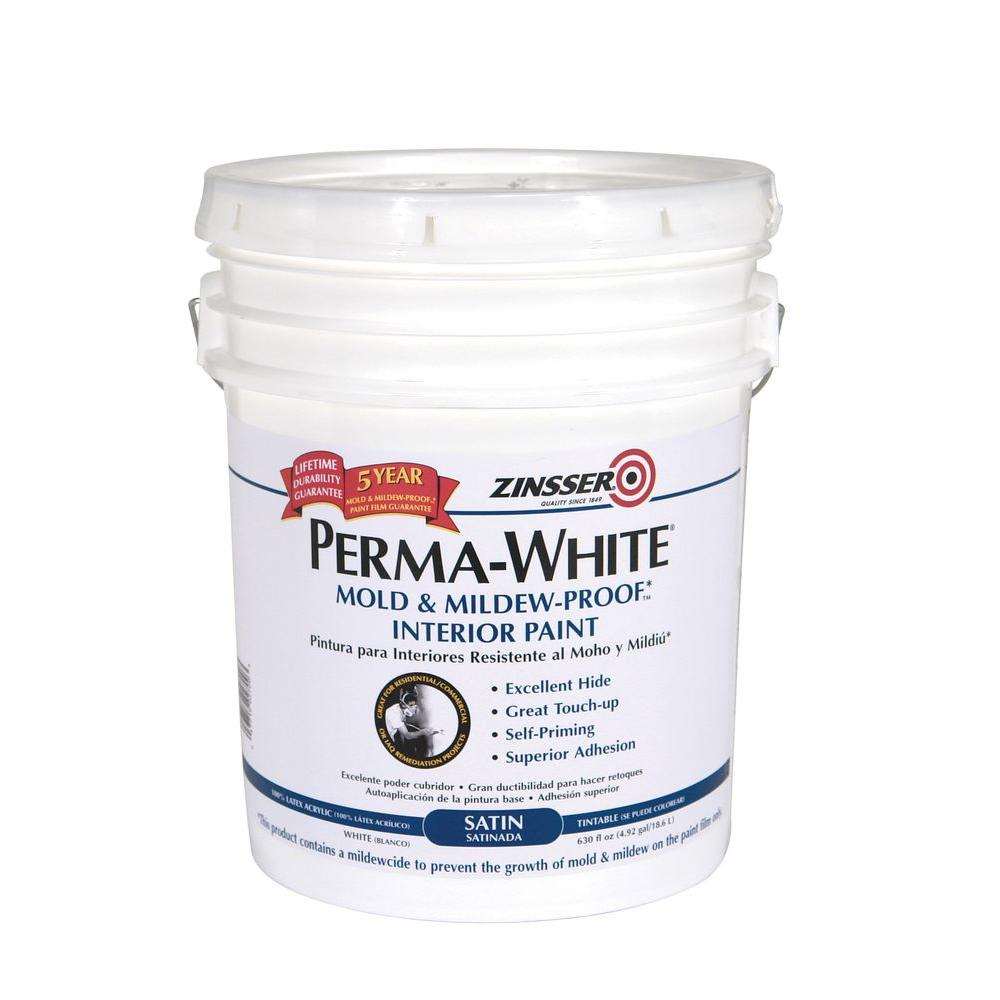 Zinsser 5 Gal Perma White Mold And Mildew Proof Satin Interior Paint 2700 The Home Depot