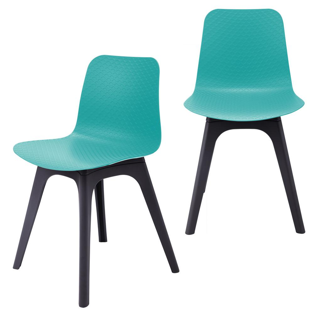 Hebe Series Turquoise Dining Shell Side Chair Molded Plastic with Modern Black Legs (Set of 2)