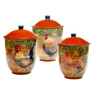 3-Piece Rustic Rooster Canister Set by