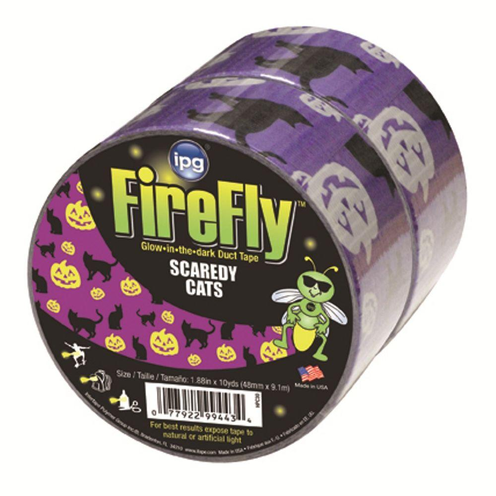 Intertape Polymer Group 1.88 in. x 10 yds. Halloween Scaredy Cats Glow in the Dark Duct Tape (2-Pack)-DISCONTINUED