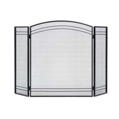Classic Black 3-Panel Fireplace Screen